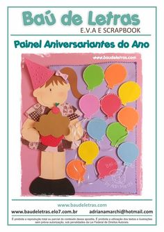 Apostila Painel Aniversariantes do Ano [molde] - Baú de Letras - Artesanato em E.v.a e Scrapbook