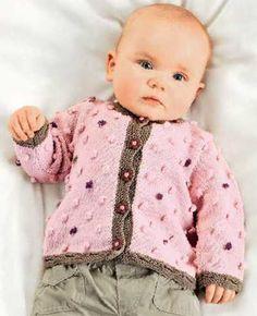 Розовая кофточка для девочки 6 — 18 месяцев спицами, очень красиво