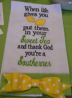 Customize tea towels with saying or have them monogrammed at The Sassy Letter, Simpsonville, SC