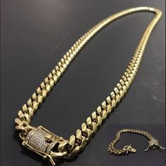 The Coolest Mens Gold Plated Solid Stainless Steel Chain Iced Diamond Thick Miami Cuban Link Chain Bracelet & Necklace Hip hop Jewelry Boys Bracelets, Fashion Bracelets, Fashion Necklace, Fashion Jewelry, Men's Jewelry, Male Jewelry, Ruby Jewelry, Ankle Bracelets, Handmade Jewelry