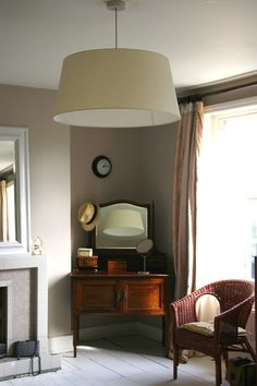 For our master bedroom. Will contrast beautifully with white (and most other colors). I'm also looking for a lamp shade like this one for my kitchen. elephant breath paint (farrow & ball)