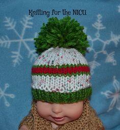 Christmas striped Beanie for the Teenies:  FREE knitting pattern for Micro Preemie thru Newborn.  Knitting for the NICU blog