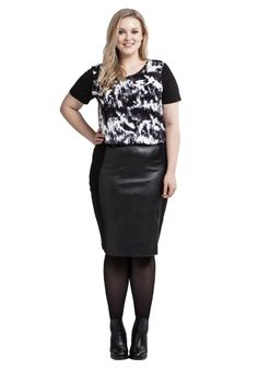 Pu Panel Ponti Skirt - if a streamlined, sexy silhouette is what you're after, look no further ladies. Available in plus size 14-25 | Women's Plus Size Fashion #plussize #fashion