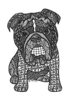 Good Dog - English Bulldog Print by Dianne Ferrer.  All prints are professionally printed, packaged, and shipped within 3 - 4 business days. Choose from multiple sizes and hundreds of frame and mat options.
