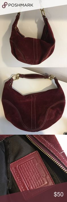 Coach Bag ♡Super cute. Suede. Maroon. Barely used.♡ Coach Bags Hobos