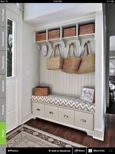 Mudroom entrance bench - love how its a built-in near the door and doesn't need to be it's own room!