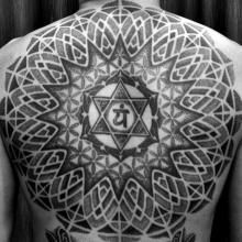 Abstract Pointilism Tribal anahata chakra blackwork dotwork flower of life mandala sacred geometry Back Piece Tattoo