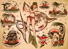 sailor jerry tattoos   sheet of Sailor Jerry's flash shows his expressive, clean-lined ...
