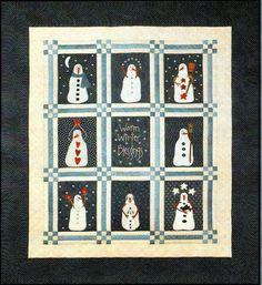 Snowman Wool Applique Quilt KIT PRI 371  Large Warm Winter