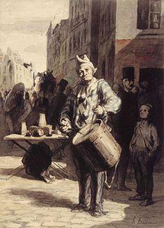 Honore Daumier, Clown Playing a Drum, 1865
