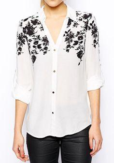 White Flowers Print Long Sleeve Wrap Polyester Blouse