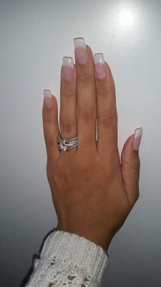 Classic French manicure. Long nails. Pink and white. Gels.