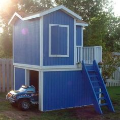 1000 ideas about wooden playhouse with slide on pinterest for Playhouse with garage plans