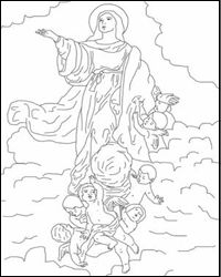 Assumption Of Mary Coloring Page And Recipe Ideas For Celebrating The Feast From Catholic Icing
