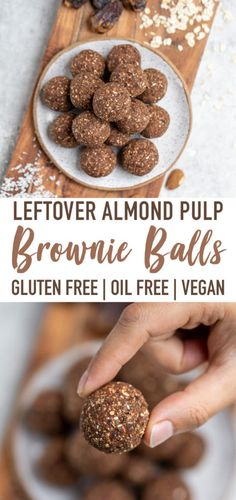 Leftover Almond Pulp Brownie Balls (Easy & Gluten-free) A healthy and delicious snack to make using the pulp from your homemade almond milk. These almond pulp brownie balls are the perfect snack for on the go! Protein Snacks, Healthy Vegan Snacks, Healthy Baking, Yummy Snacks, Snack Recipes, Diet Snacks, Vegan Snacks On The Go, Snacks Homemade, Diet Recipes