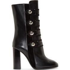 Isabel Marant Black Leather and Suede Buttoned Boots found on Polyvore featuring shoes, boots, zipper ankle boots, ankle boots, mid calf leather boots, leather military boots y black boots