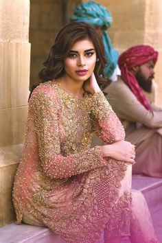 Pakistani couture Sadaf Kanwal for Mina Hasan S/S 2016 Formals Mehndi Walima Lehenga / # Pakistani Couture, Pakistani Wedding Dresses, Indian Couture, Pakistani Outfits, Indian Dresses, Indian Outfits, Indian Attire, Indian Ethnic Wear, Party Kleidung