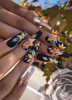 See here the most beautiful and superb ideas of long nail arts and designs with shining black colors. You may easily make you hands' look like more cute by applying these best nail designs right now. Nail Art Designs, Black Nail Designs, Winter Nail Designs, Acrylic Nail Designs, Nails Design, Acrylic Nails, Unique Nail Designs, Acrylic Art, Nail Art Long