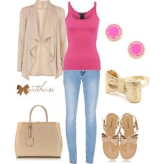 Bow pink summer outfit by natihasi on Polyvore