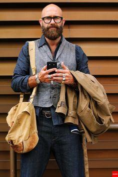 Shaved Head With Beard – 65 Beard Styles For Bald Men Bald Men With Beards, Bald With Beard, Beard Styles For Men, Hair And Beard Styles, Bald Men Styles, Look Fashion, Mens Fashion, Fashion Outfits, Unisex Fashion