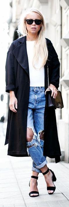 Chicy Blue Destroy Vintage Denim Boyfriend Jeans