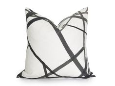 $100 Channels Pillow Cover - Kelly Wearstler Channels - Ebony - Black and Off-White -  Geometric Pillow - Black Pillow - Neutral Pillow