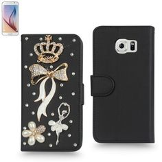 $12.99 Reiko Crown Jewelry Studs Leather Wallet Case For Samsung Galaxy S6 - Introducing the all new reiko jewerly studs wallet case, elegant and luxurious design that looks perfect during late dining evenings