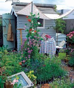 Newest Pictures blue garden shed Ideas Backyard garden outdoor storage sheds get many makes use of, such as holding family muddle plus lawn maintenan. Small Cottage Garden Ideas, Garden Cottage, Small Garden Design, Small Garden Spaces, Backyard Cottage, Allotment Shed, Allotment Gardening, Allotment Design, Organic Gardening