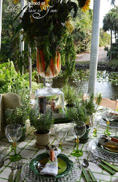 McGregor inspiration boards … then sent me pics of a Mrs. McGregor's Garden Party table she has done — two… Dresser La Table, Outdoor Dining, Indoor Outdoor, Beautiful Table Settings, Elegant Dining, Al Fresco Dining, Tablescapes, Outdoor Gardens, Table Decorations