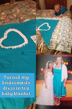 Turned my bridesmaids dress in to a baby blanket