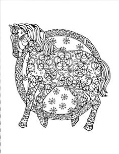 Adult Coloring Page:Original Hand Drawn Art in Black and White, Instant Digital Download Image of of the a Horse Decorated with Flowers.