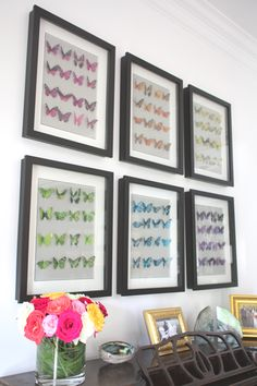 Faux butterfly art (so fun grouped by color)!