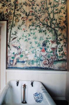 Mural in the bathroom. Moon to Moon: 7 Fabulous Bathrooms. david qian · HAND PAINTED WALLPAPERS