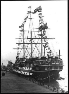 HMS Conway alongside the Pier head at Liverpool September Liverpool Town, Liverpool Docks, Old Sailing Ships, The Last Ship, Full Sail, Man Of War, Wooden Ship, Navy Ships, Speed Boats