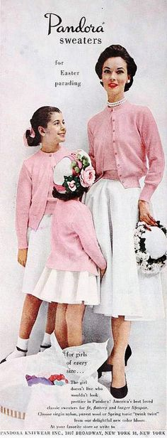 Pandora Sweaters ad, March 1953. #vintage #fashion #cardigans #1950s #pink