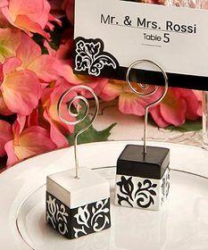 FashionCraft 8185 Black and White Damask Design Place Card Holders   #Fashioncraft #wedding #favor