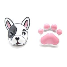 Adorable Boston Terrier Puppy Dog Face and Paw Shaped Stud Earrings in Pink | DOTOLY