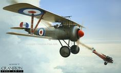 LVG.  Albert Ball in his Nieuport 17 having just shot down a German LVG. His aircraft, A134, was distinctive in having a bright red spinner. He was the first Royal Flying Corps pilot to score a hat-trick (3 kills on a single mission) and, in the course of his career, scored another two on his way to his outstanding 44 victories.