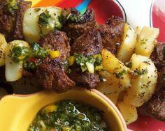 Steak and Potatoes, with a Twist! Steak & Potato Alambritos With Jalapeno Chimichurri  HispanicKitchen.com