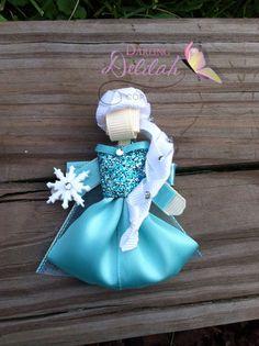 Anna and Elsa Ribbon Hair Clip SET Frozen by DarlingDelilah777