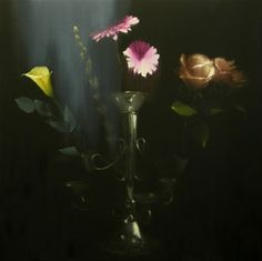 """Still Life with Silver & Flowers (2013) Exclusive to Opus 27.5"""" x 27.5"""" Oil on canvas Signed by the artist"""