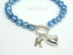 Personalised Royal Blue Baroque Pearl Bracelet with T-bar Clasp: www.pearlisland.co.uk