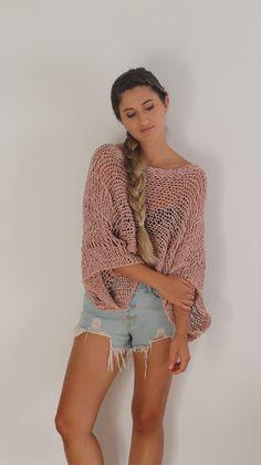 Suéter de Blush rosado cosecha punto abierto por ThreeBirdsSitting