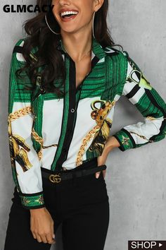 Women Fashion Long Sleeve Slim Printed Colour Shirt Green l Blouse Outfit, Work Blouse, Printed Blouse, Printed Shirts, Floral Print Maxi Dress, Maxi Dress With Sleeves, Shirt Blouses, Dress Shirts, Casual Chic