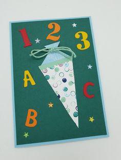 Einschulung, Schulanfänger, Einschulungskarte, Schule, Du bist erste Klasse, ABC Schütze, abc-schützen Karte zur Einschulung selbst basteln, Schultüte, Einschulungstüte, erster Schultag