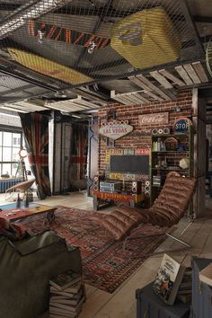 This is a pretty well thought out industrial space. The vintage pieces really add a lot of character.