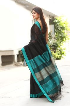 Turqouise, Black, and Grey Linen Saree