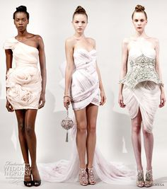 Spring dresses  from Marchesa 2011 Spring/Summer RTW collection - draped minidress, one-shoulder, with train, armored bodice