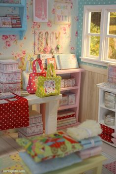 "Dollhouse room by Nerea Pozo Art: DIORAMA ""DOTTY SHOP """