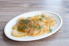 Gekonfijte venkel met knoflook en sinaasappel; een lekker bijgerecht bij vis en kruidig vlees.